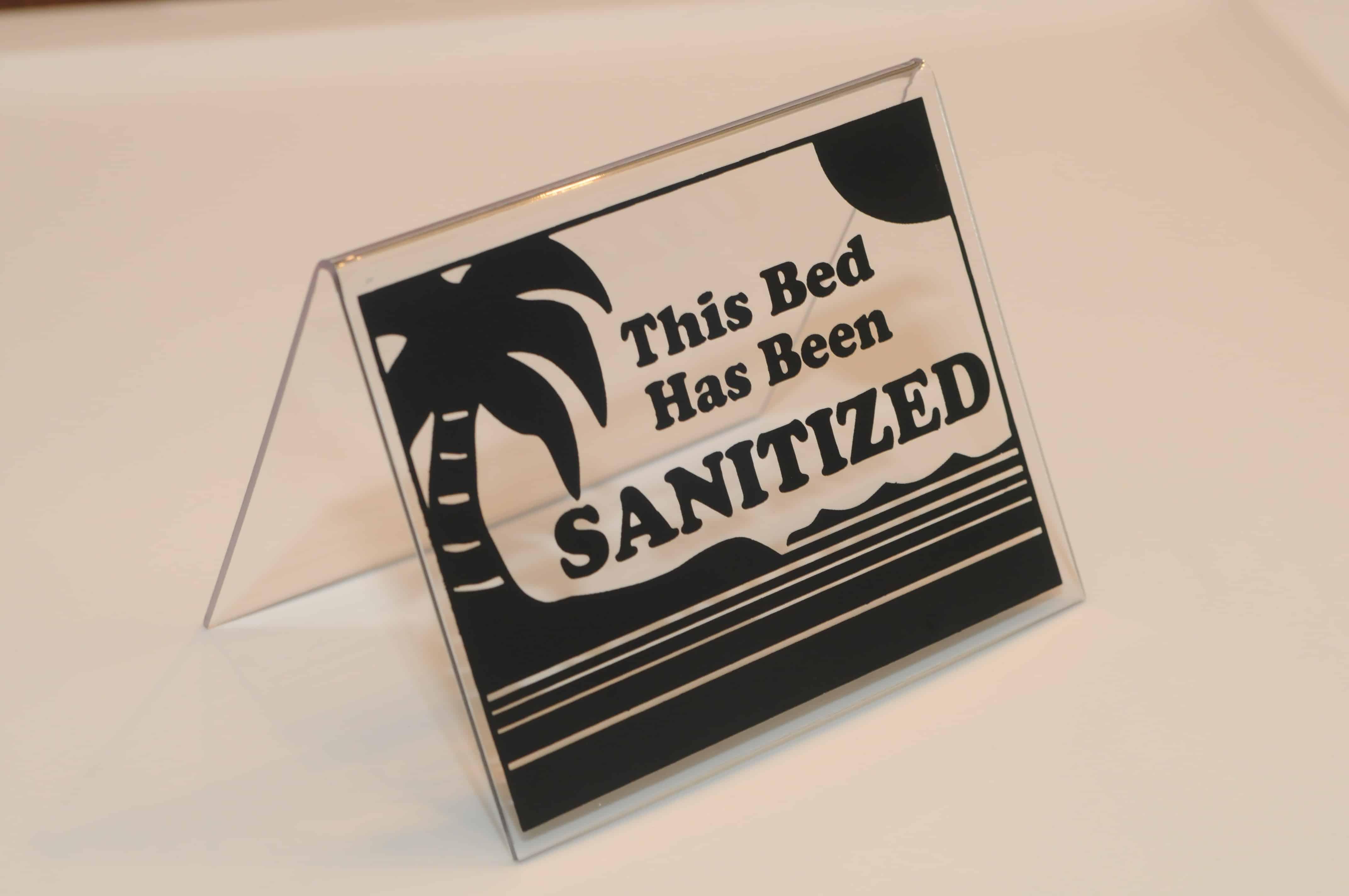 Image result for sanitized sign for sunbed