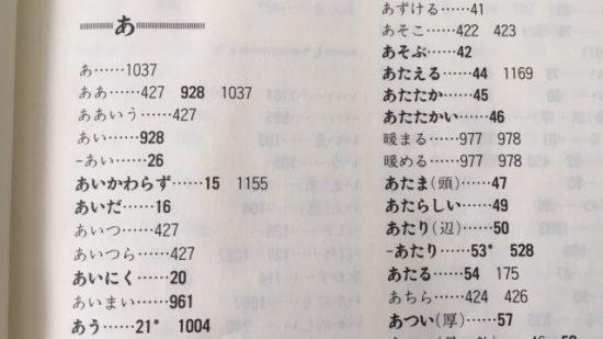 基礎日本語辞典の索引