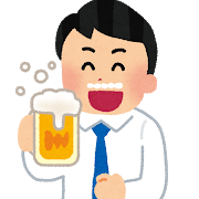 ビールをゴクゴク飲む男性