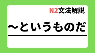 N2文法解説「~というものだ」