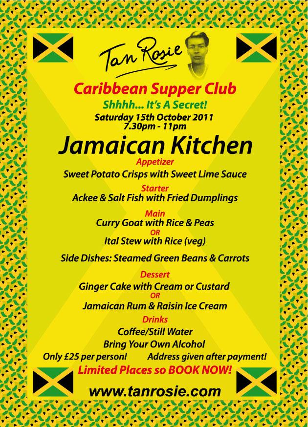 Jamaican Supper Club Menu Saturday 15th October 2011 Tan