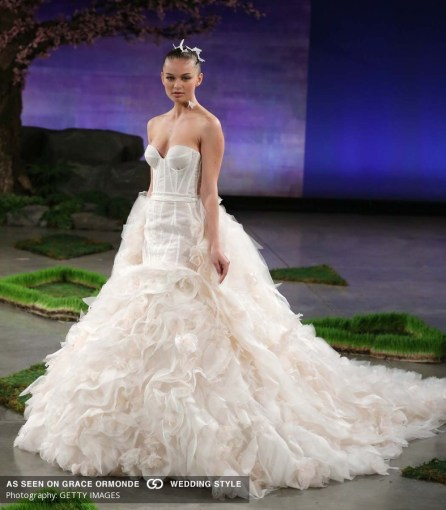 NYC Bridal Fashion Week   New York Floral Design Wedding Planner Bar     Couture Ruffled Wedding Dress   Getty Images