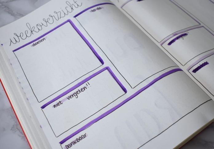 Mijn bullet journal setup voor augustus weekoverzicht