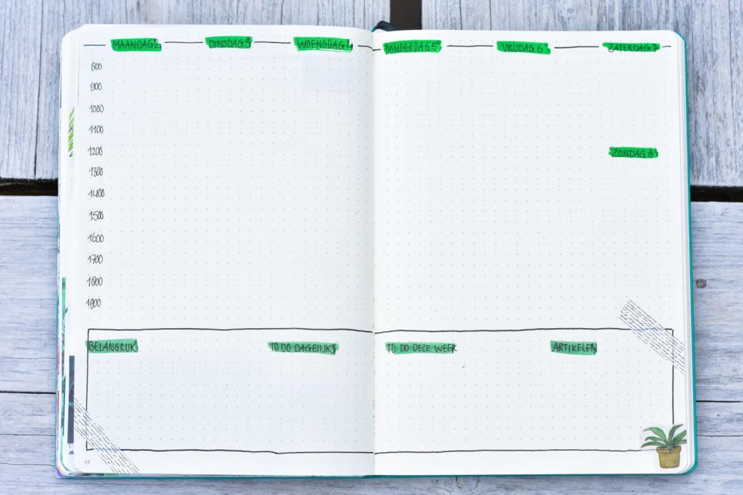 bullet journal in september weekplanning