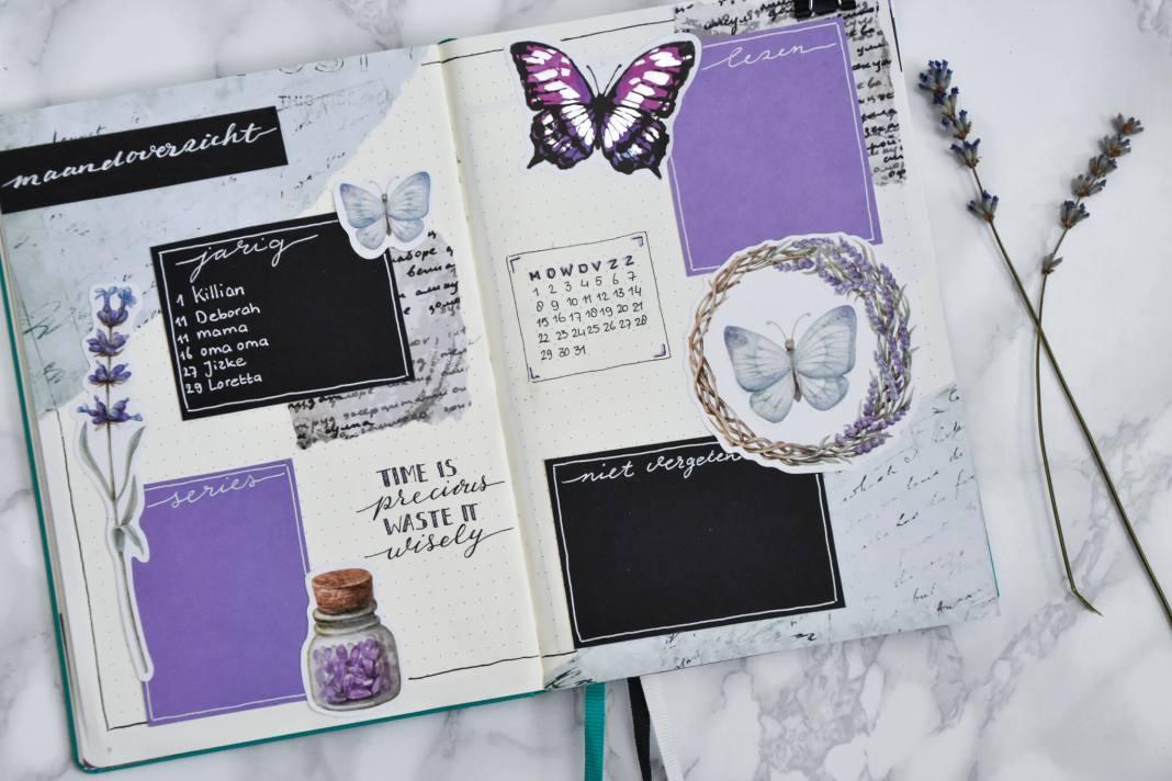 setup van mijn bullet journal in juli maandoverzicht