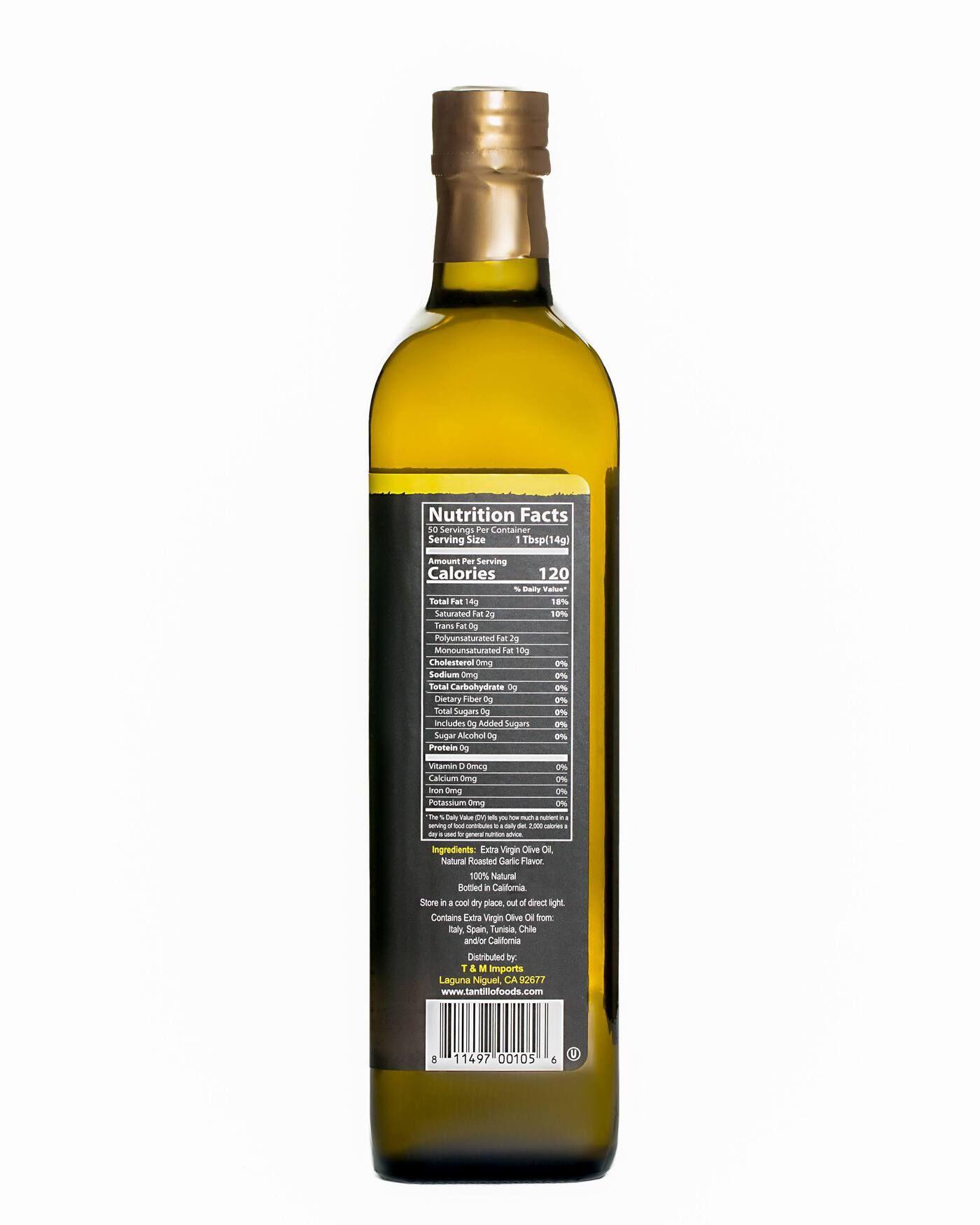 Tantillo Roasted Garlic Flavored Olive Oil - 750ml