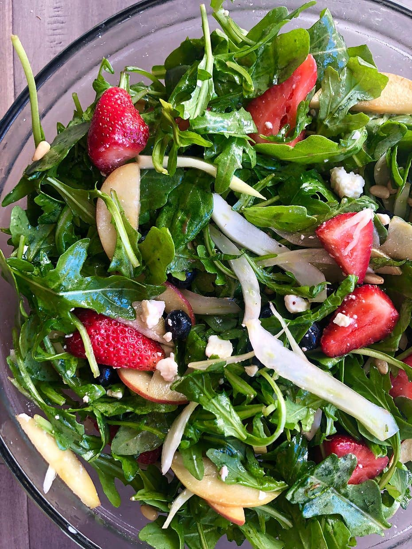 Arugula-Fennel Salad with Berries, Apples and Grapefruit Balsamic Vinaigrette