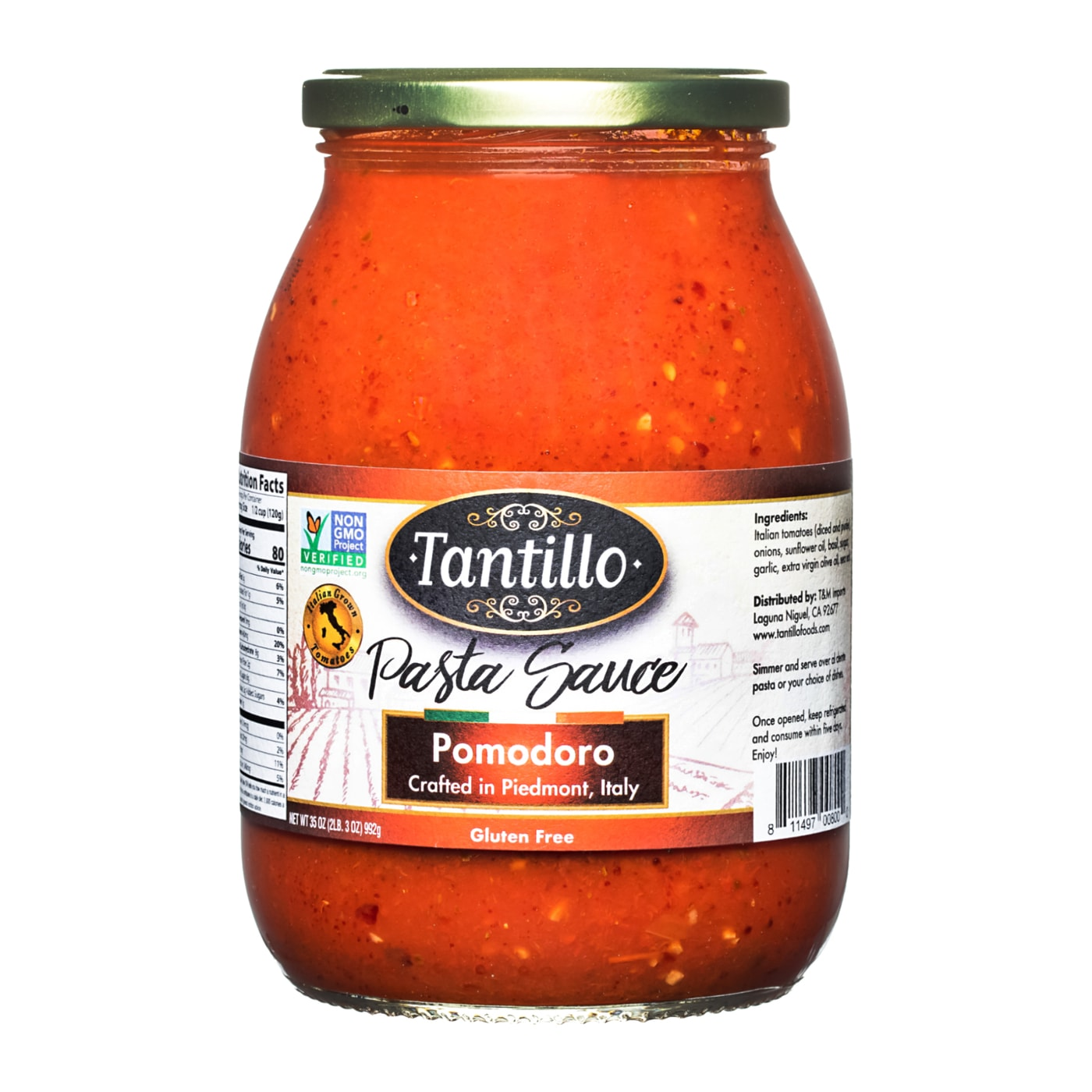 Tantillo Imported Italian Pomodoro Pasta Sauce 35oz (Pack of 2)