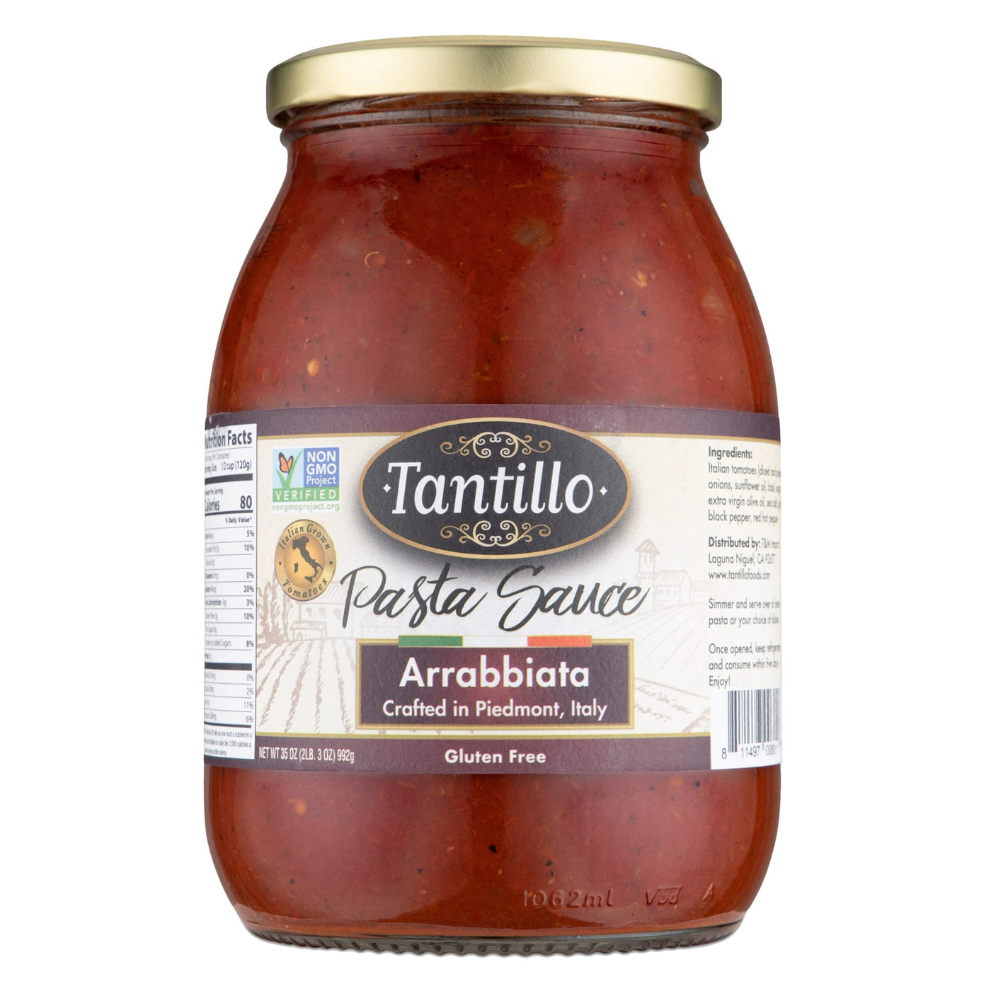 Tantillo Imported Italian Arrabbiata Pasta Sauce 35oz (Pack of 2)