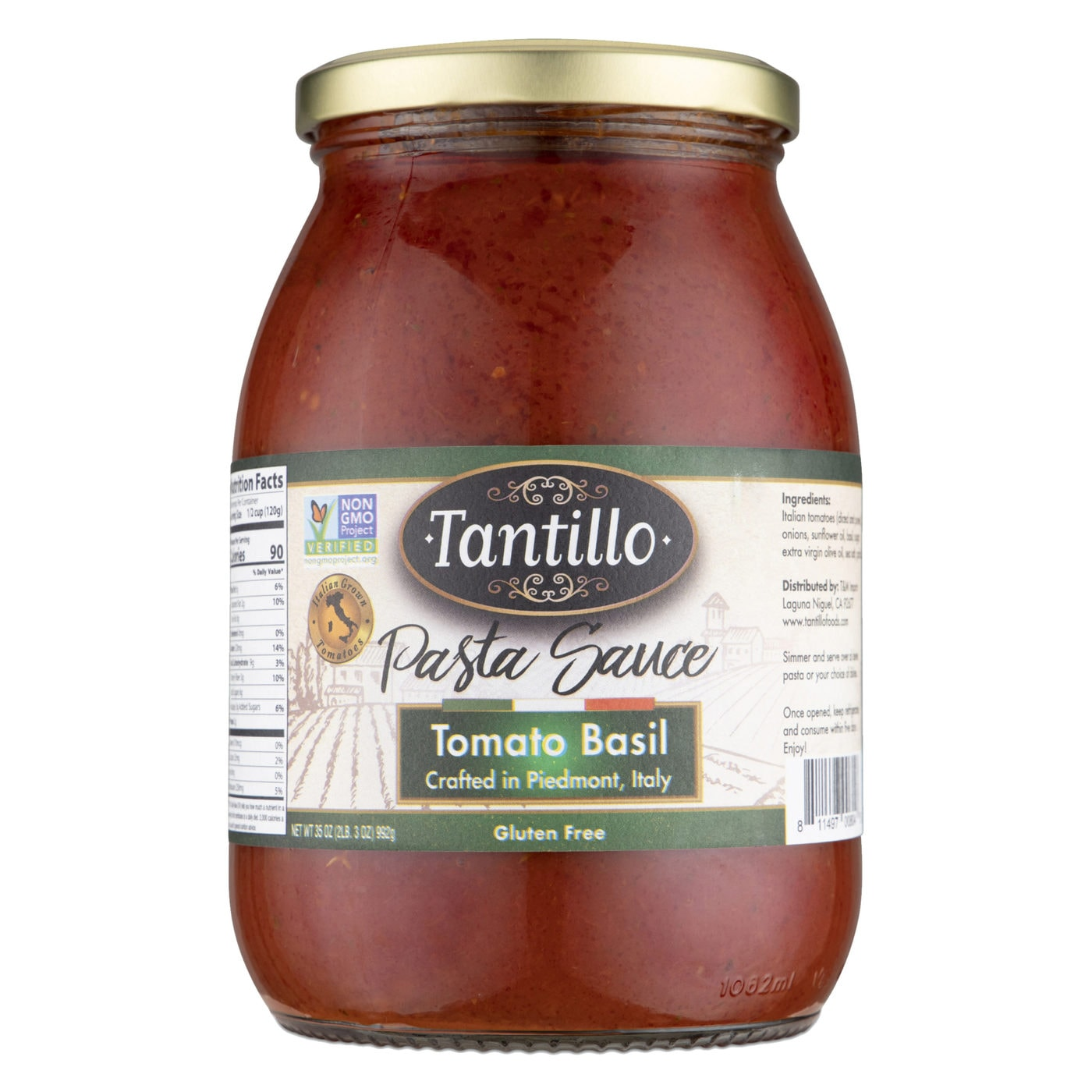Tantillo Imported Italian Tomato Basil Pasta Sauce 35oz (Pack of 2)