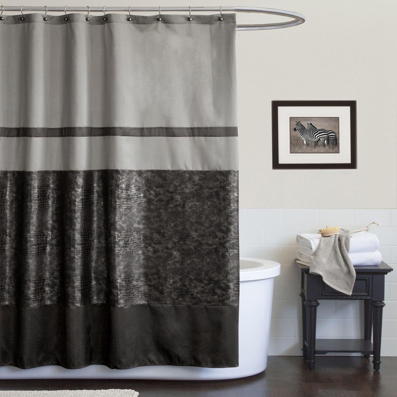 Gray shower curtain fabric - Dark Grey Fabric Shower Curtains