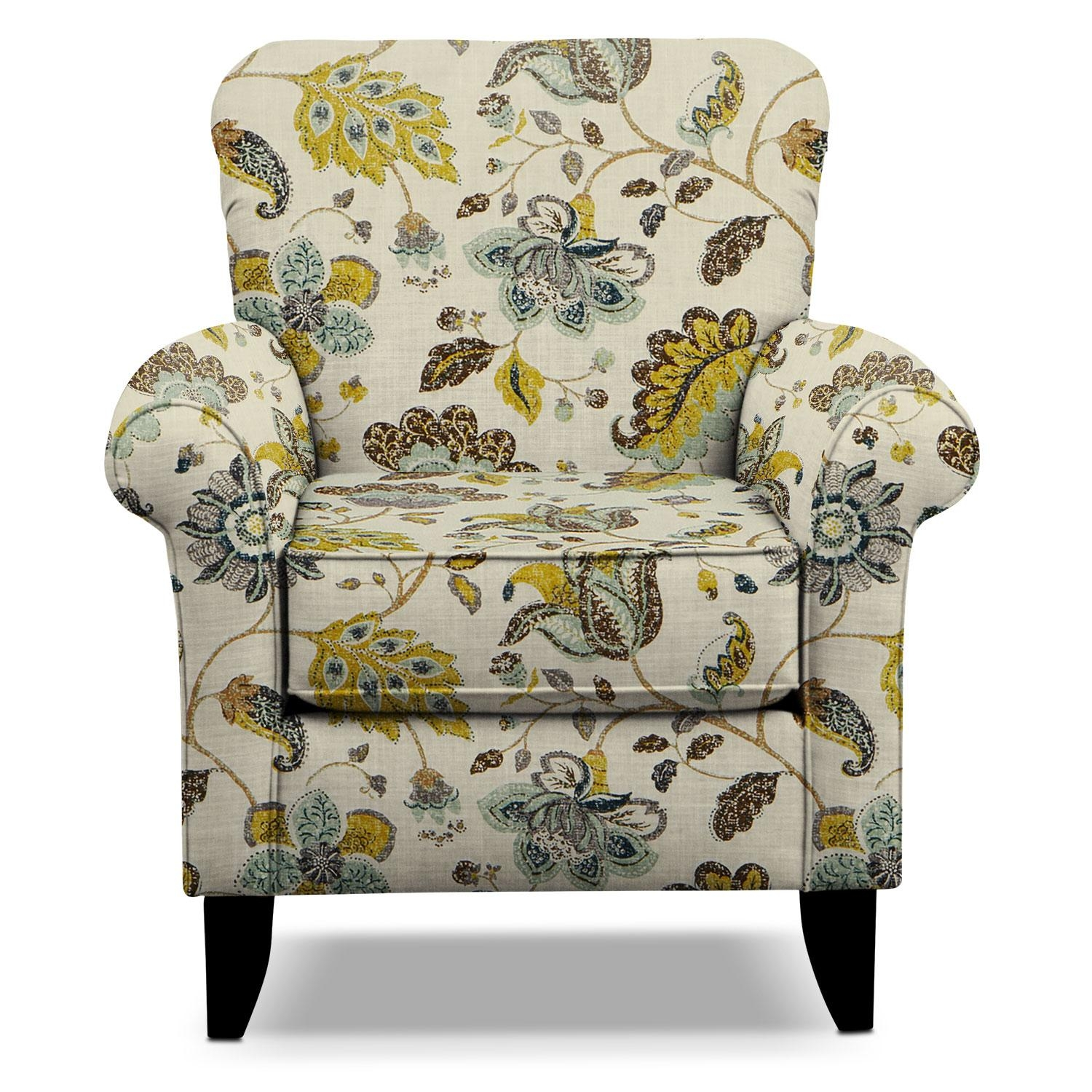 Green Floral Accent Chair