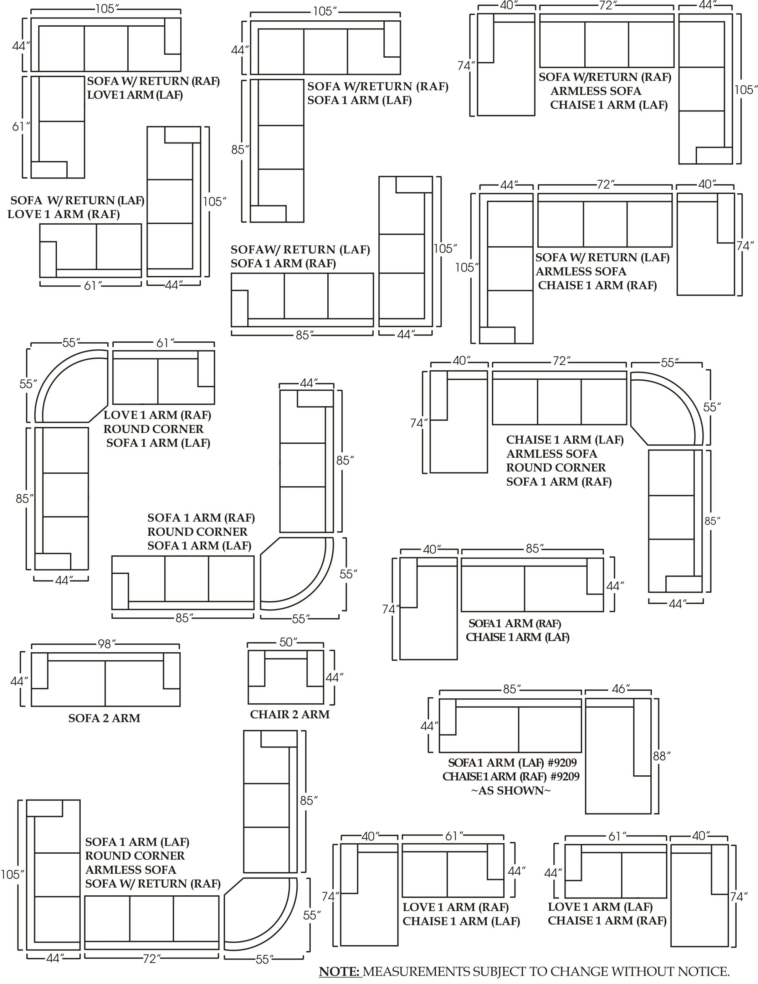 10 Inspirations Measurements Sectional Sofas
