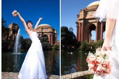 Bride at Palace of Fine Arts in San Francisco