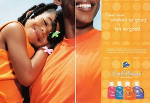Ad for Tide with Little girl on her father's shoulder