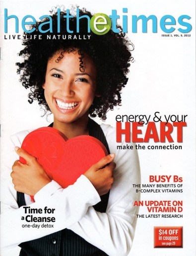 Health e-times ad with happy woman holding a heart in her hands