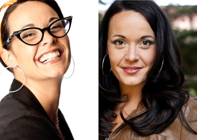 Two images of the same woman with different looks