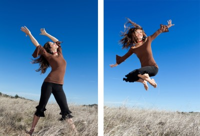 Two photos of a female dancer, one jumping high outdoors
