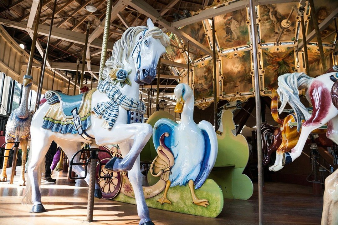 Wooden horse and goose in Merry-go-round in San Francisco
