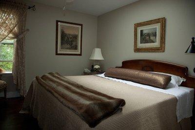 Bedroom designed in browns and beiges