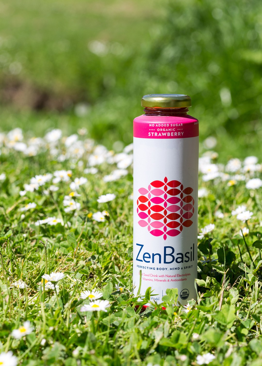 Product shot of strawberry drink on grass