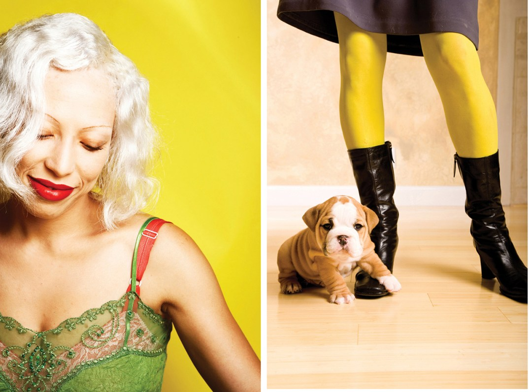 two photos, one with white haired woman and the other with dog