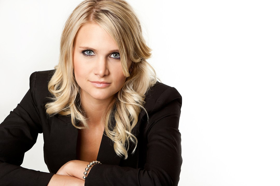 Portrait of blonde woman and business suit