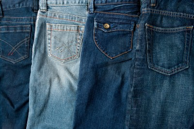 Product close-up of blue jeans
