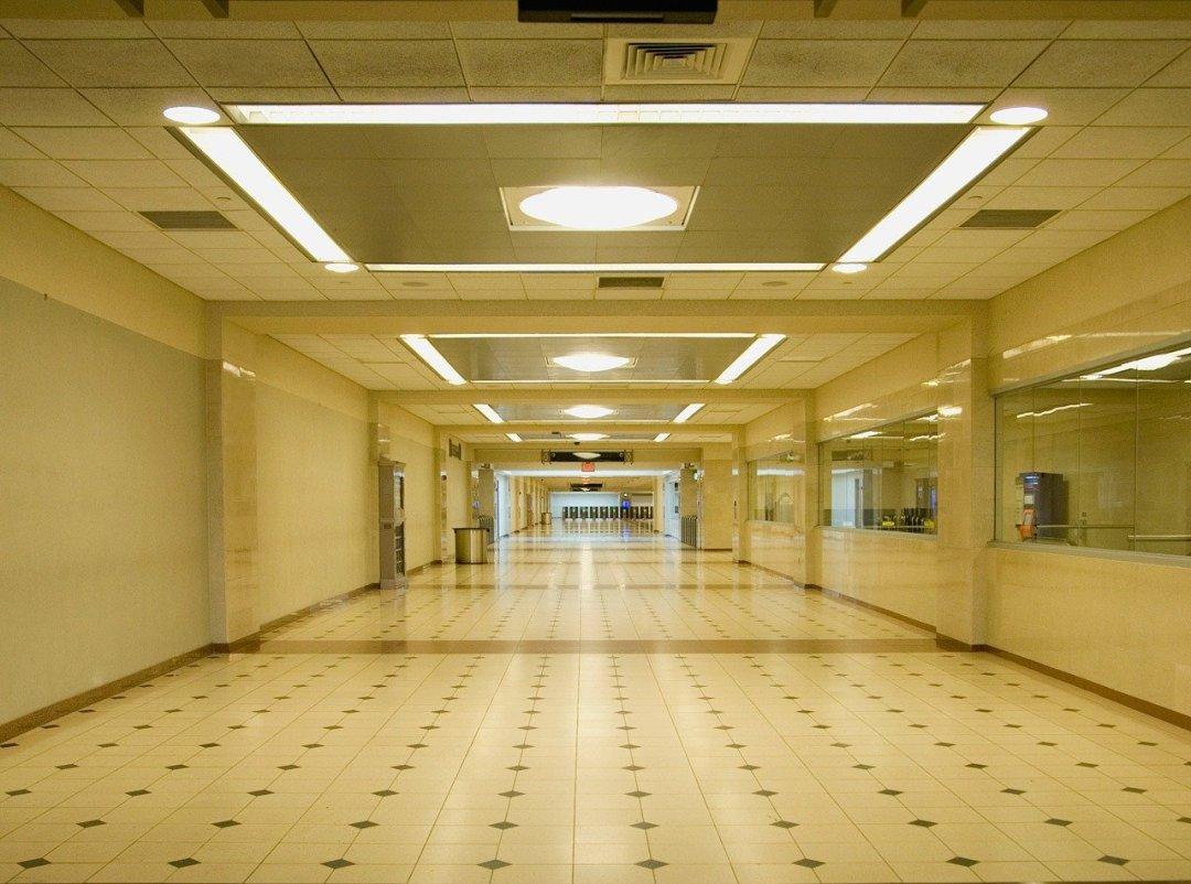 Empty hallway at train station
