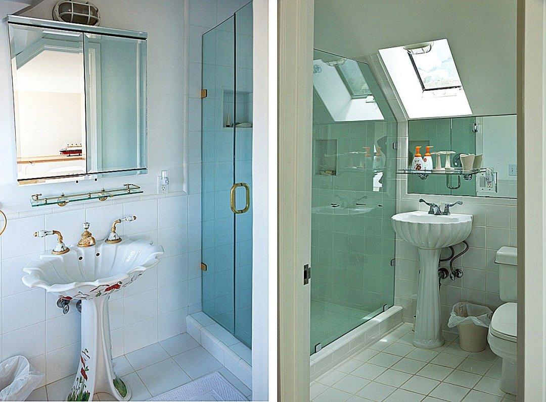 Two photos of bathrooms