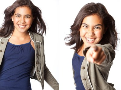 Two photos of the same little girl gesturing and laughing