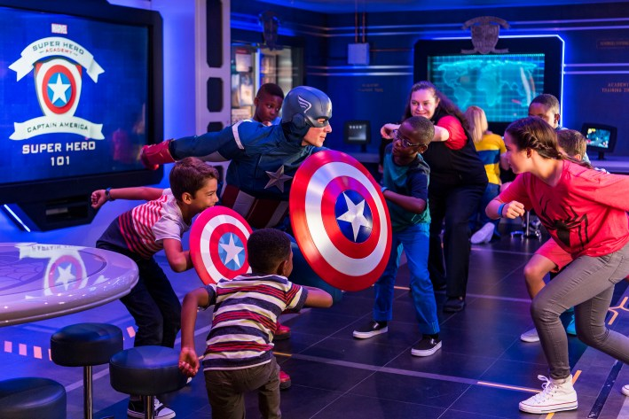 Top 10 Reasons to Book a Disney Cruise to Alaska featured by top US travel blogger, Tanya Foster: image of Marvel Super Hero Academy - Captain America