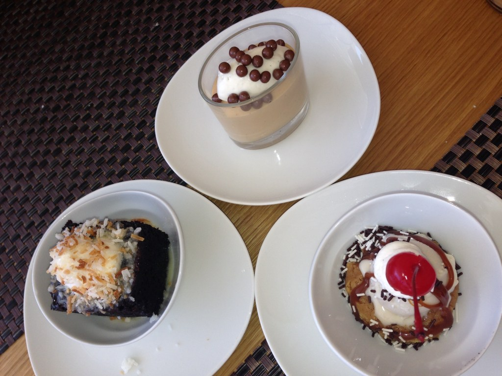 A trio of desserts at Savor