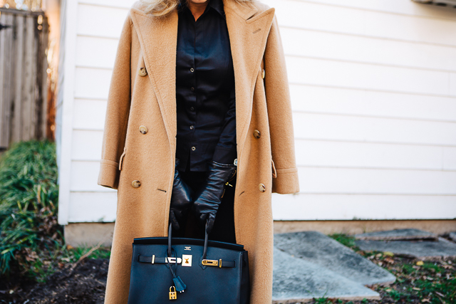 all black and camel coat