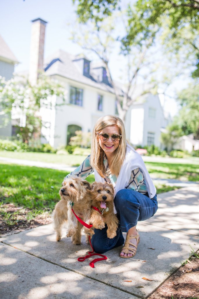 Tanya Foster, Sparky and Max, dogs, summer, denim look
