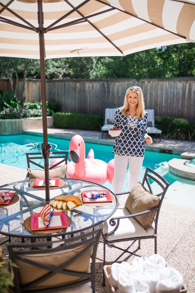 Outdoor entertaining, Hayneedle umbrella, poolside, pink flamingo, outdoor entertaining
