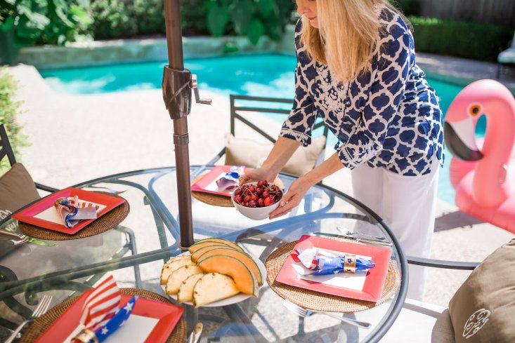 Outdoor entertaining, July 4th cookout, Talbots tunic top, red white and blue, pool