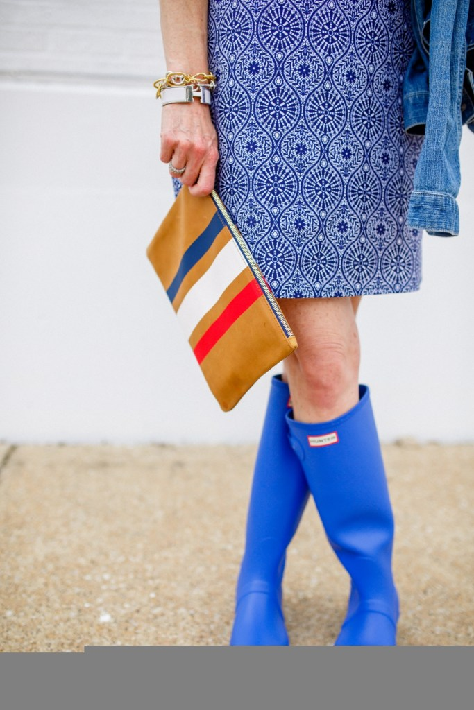 Jude Connally Ella Dress, Hunter boots, Claire V. clutch, tanya foster, blue and white dress