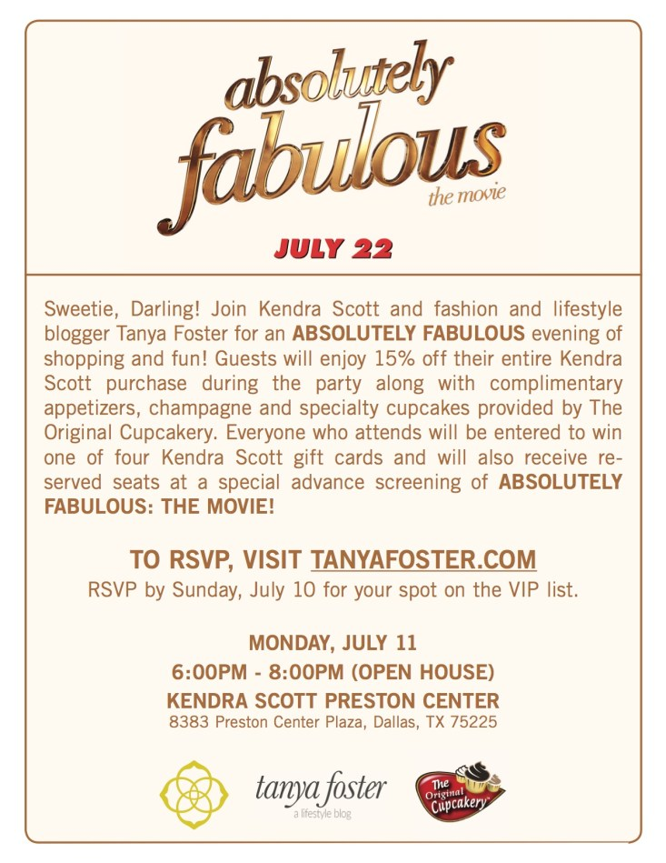 Absolutely Famous invitation, Kendra Scott party, TanyaFoster.com, Dallas event, VIP film screening
