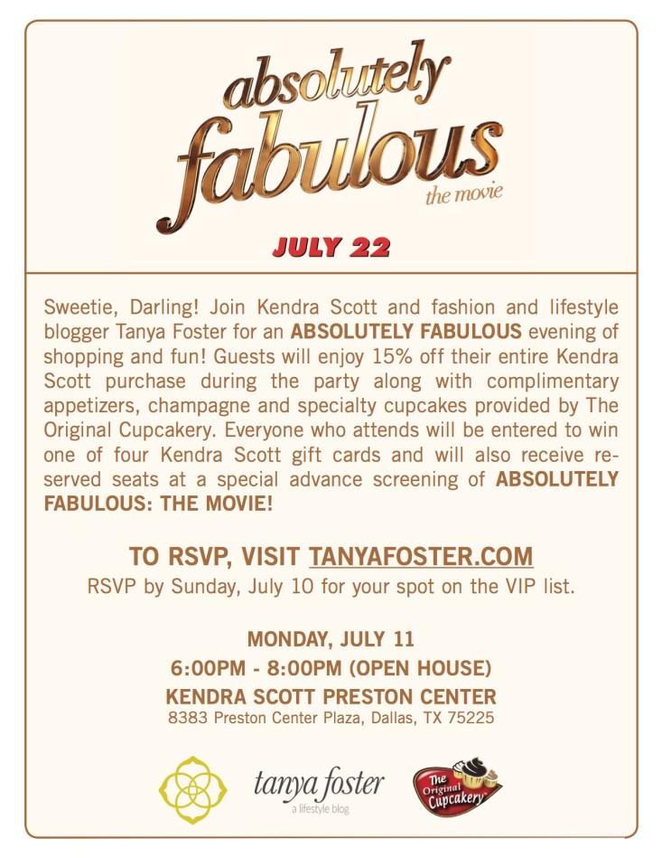 Absolutely Famous invitation, Kendra Scott party, TanyaFoster.com, Dallas event, VIP film screening