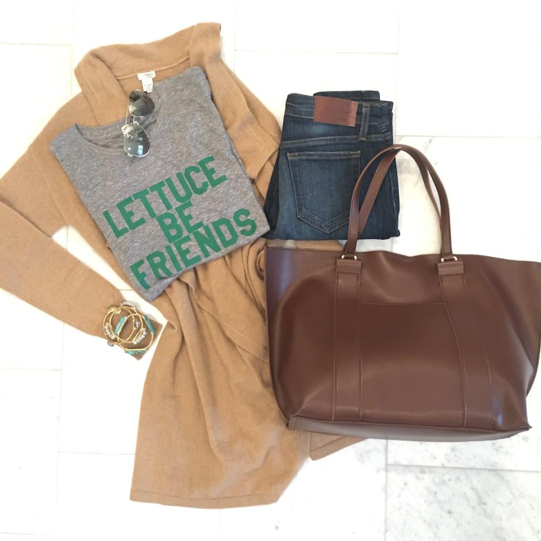 Nordstrom Anniversary Sale 2016, Lettuce Be Friends t-shirt, cashmere long wrap, Joe's jeans, brown tote