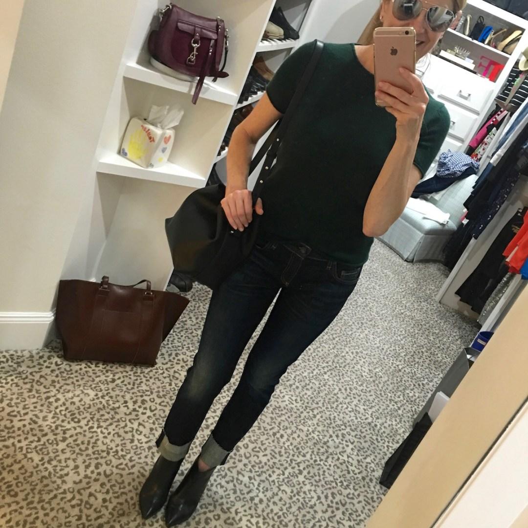 Nordstrom Anniversary Sale 2016, Tanya Foster, Phillip Lim black bucket bag, denim, sunglasses