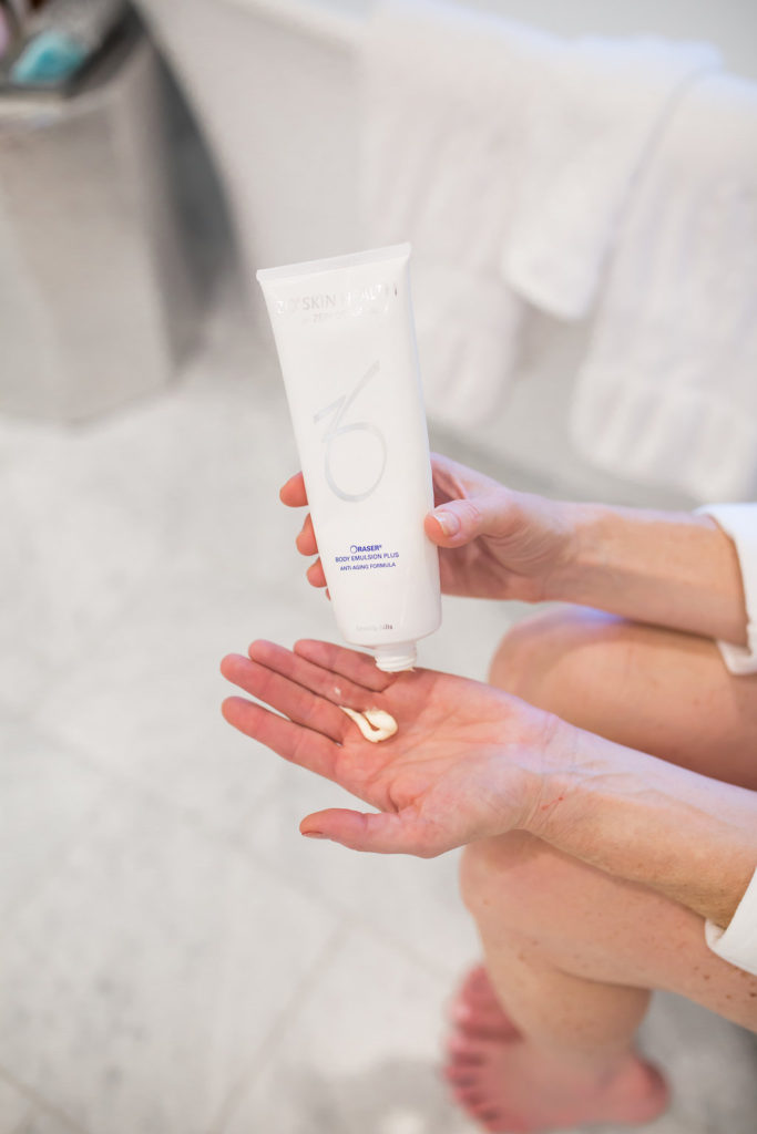 ZO Skin Health Raser Body Emulsion Plus Anti-Aging Formula, Tanya Foster, remove brown spots, Dr. Zein Obagi, Dr. Lynley McAnalley