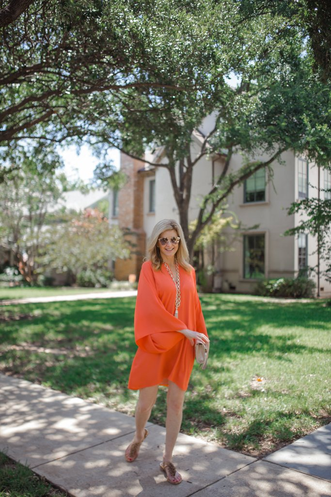 Laney dress, Elaine Turner, orange dress, Tanya Foster, Dallas blogger