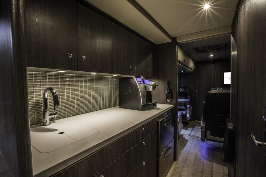 Kitchen in Vonlane bus, free snacks, free drinks, luxury travel, bus