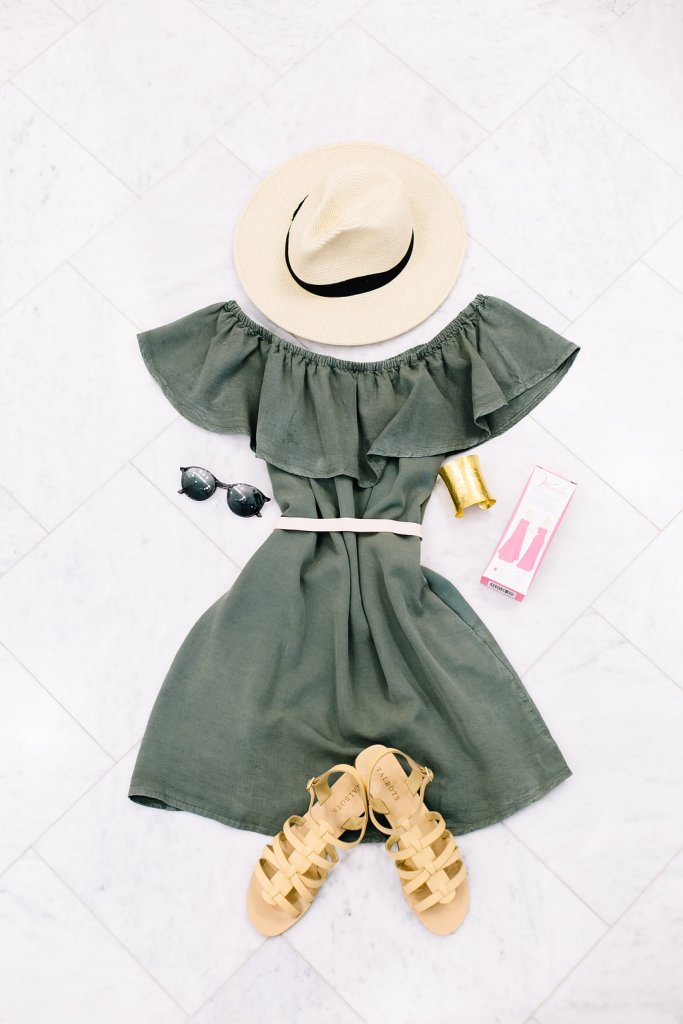 toyshop dress, j crew hat, talbots nude sandals, wonder waist liner brand, dillards