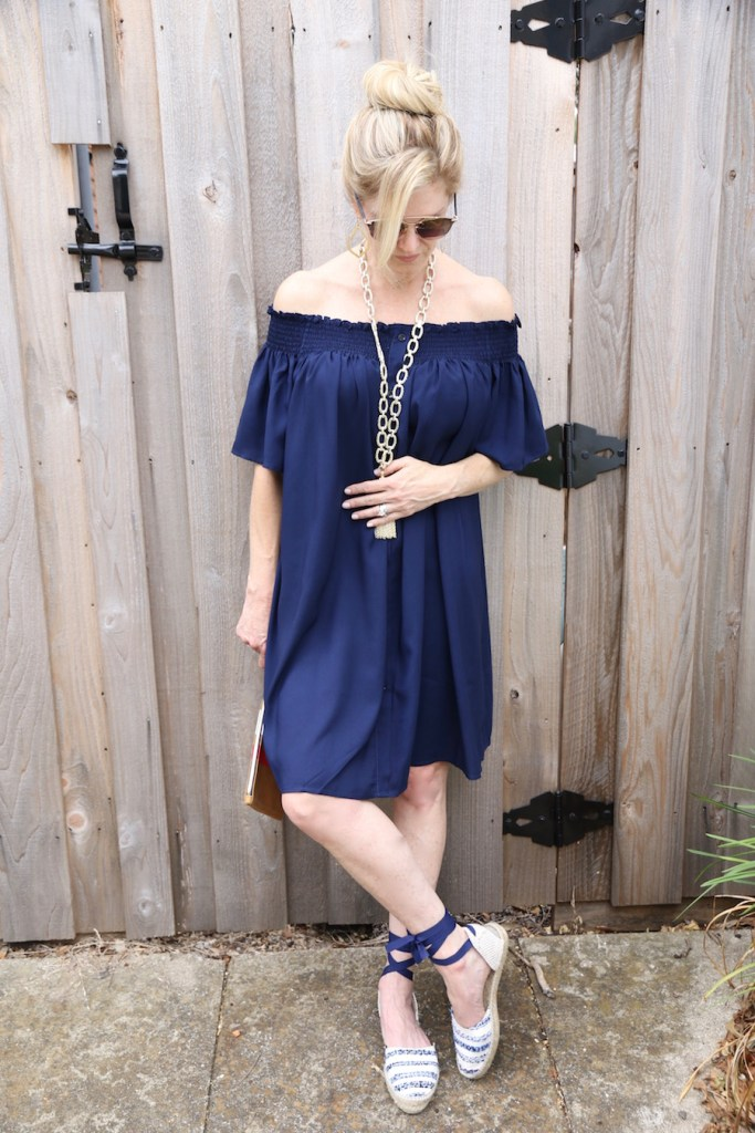 chicwish blue dress, off the shoulder dress, navy, kendra scott necklace, Dallas Lifestyle Blogger
