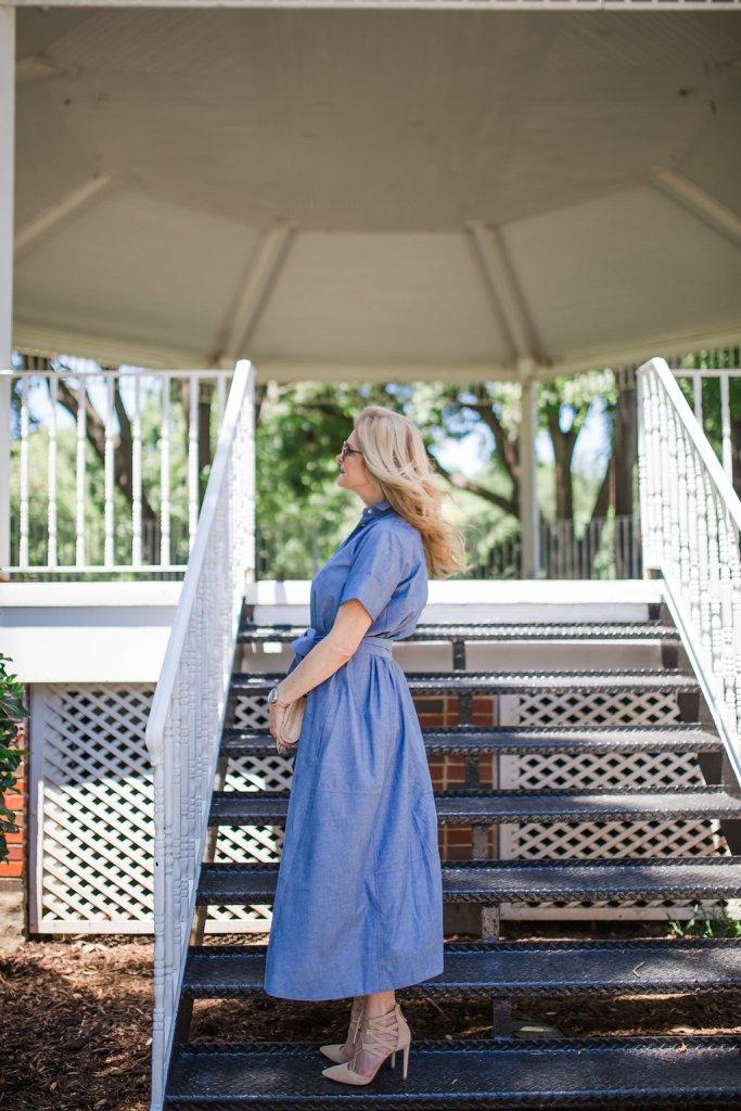 Avenue 32, chambray dress, full dress, Tanya Foster, Dallas Fashion blogger, Lisa Marie Fernandez dress