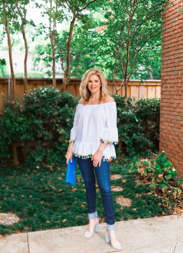 chicwish off the shoulder top, white top, schutz shoes, baby blue shoes, skinny jeans, GiGI New York clutch bag, Tanya Foster