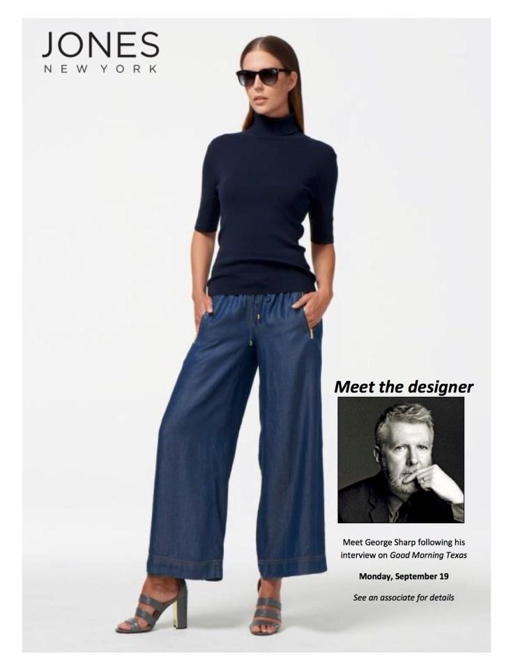 Jones NY, Dillard's, George Sharp, TanyaFoster.com, stretch denim straight leg jeans, stripe printed crepe split neck blouse